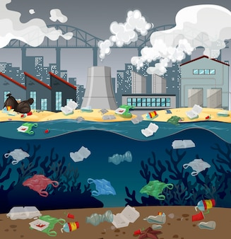 Contaminación del agua con bolsas de plástico en el río.