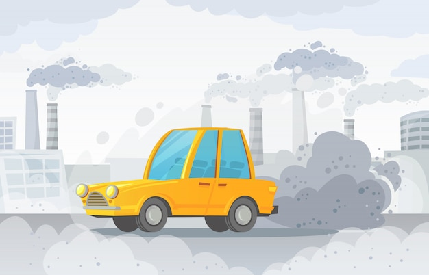 Contaminación del aire del automóvil. ciudad carretera smog, fábricas de humo y nubes de dióxido de carbono industrial ilustración vectorial