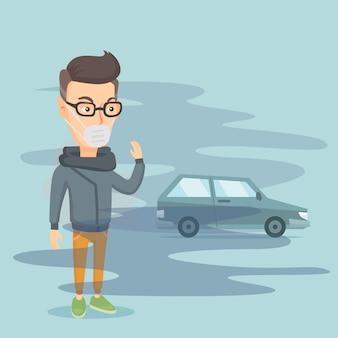Contaminación del aire por escape de vehículos.