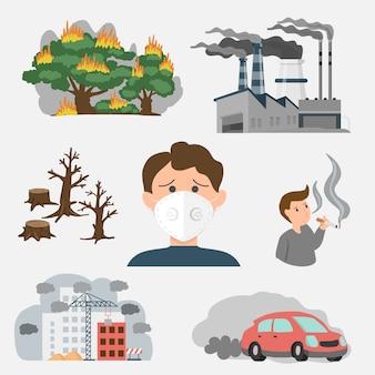 Contaminación del aire en la fuente de la ciudad. ejemplo tóxico de fábrica, incendios forestales y personas en la ciudad. ilustración