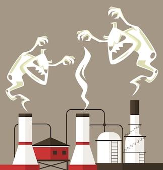 La contaminación del aire. monstruo de humo.