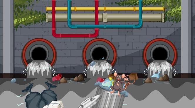 Contaminación del agua del desagüe de la ciudad