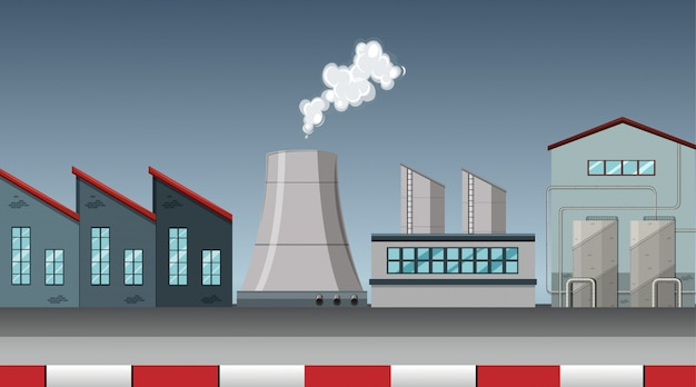 Contaminación de la escena del tema de la fábrica en la naturaleza