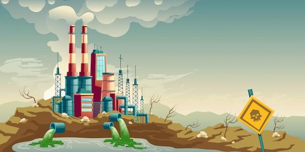 Contaminación industrial del vector de dibujos animados medio ambiente