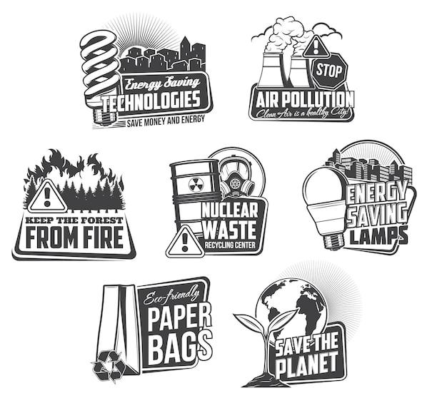 Contaminación del medio ambiente y ahorro de energía iconos.