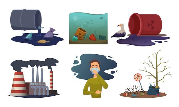 Contaminación de la naturaleza. medio ambiente escape automóvil contaminación residuos tóxicos concepto ilustraciones