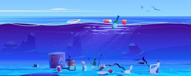 Contaminación del océano por basura plástica y desechos.