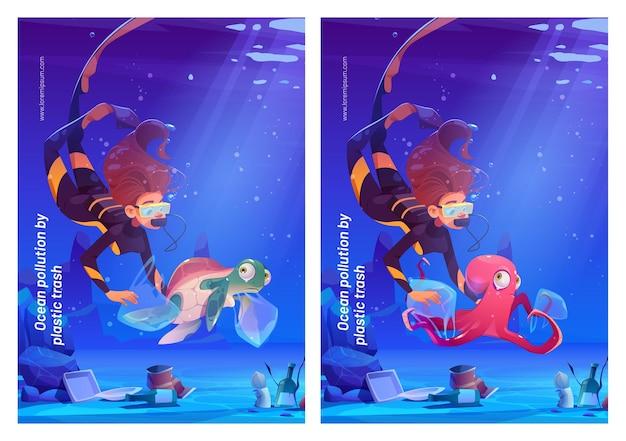 Contaminación del océano con carteles de dibujos animados de basura plástica