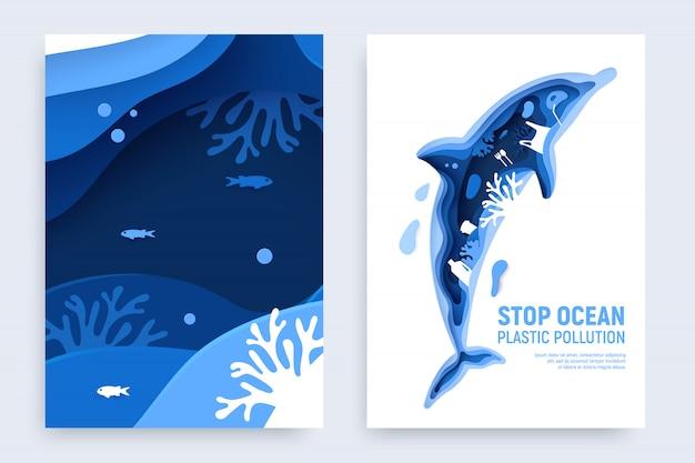 Contaminación plástica del océano con silueta de delfín. papel cortado delfín con basura plástica, peces, burbujas y arrecifes de coral aislados sobre fondo blanco.