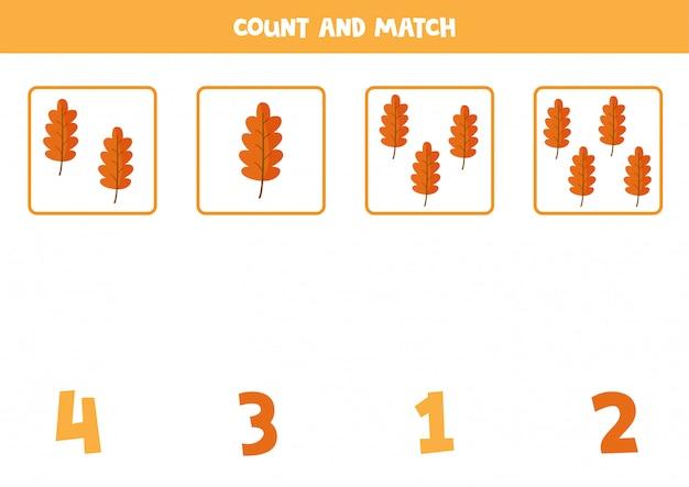 Contando hojas de otoño de dibujos animados lindo. juego de matemáticas para niños.