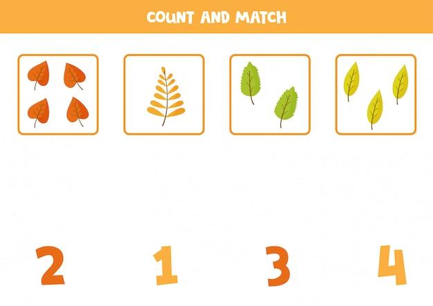 Contando hojas de otoño. juego de matemáticas para niños en edad preescolar.