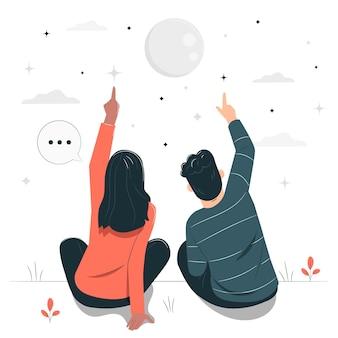 Contando la ilustración del concepto de estrellas
