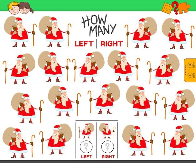 Contando imágenes izquierda y derecha de dibujos animados santa claus