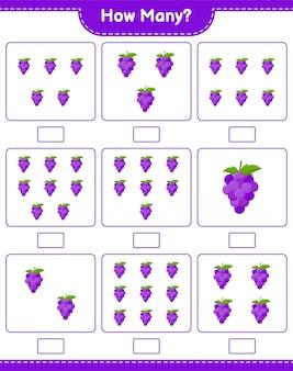 Contando juego, cuántas uvas. juego educativo para niños, hoja de trabajo imprimible