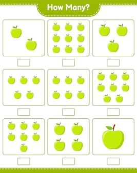 Contando juego, cuántos apple. juego educativo para niños, hoja de trabajo imprimible