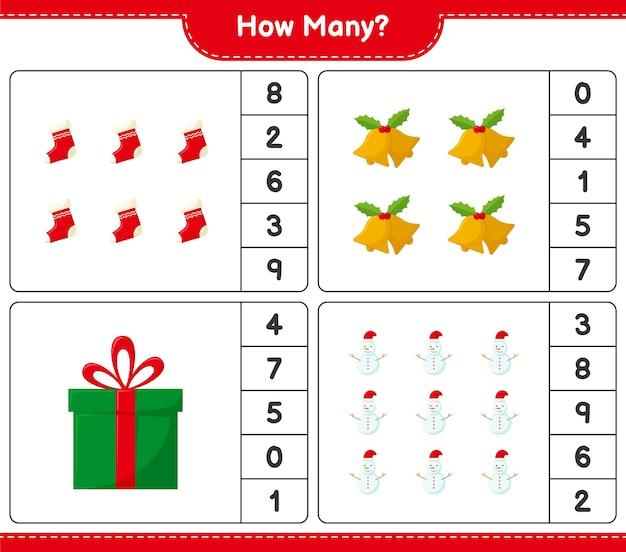 Contando el juego, cuántos juegos educativos de decoración navideña para niños, hoja de trabajo imprimible,