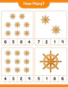 Contando el juego, cuántos volante de barco. juego educativo para niños, hoja de trabajo imprimible