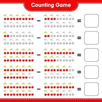 Contando el juego, cuenta el número de cherry y escribe el resultado. juego educativo para niños, hoja de trabajo imprimible