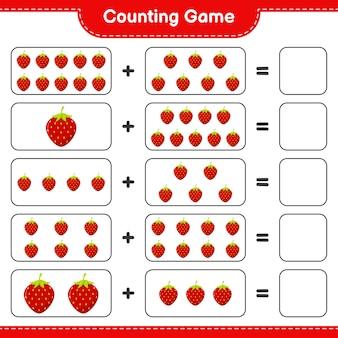Contando el juego, cuenta el número de fresa y escribe el resultado.
