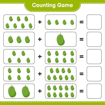 Contando el juego, cuenta el número de jackfruit y escribe el resultado.