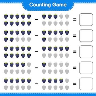 Contando el juego, cuenta el número de moras y escribe el resultado. juego educativo para niños, hoja de trabajo imprimible