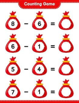 Contando juego, cuenta el número de santa claus bag y escribe el resultado. juego educativo para niños, hoja de trabajo imprimible