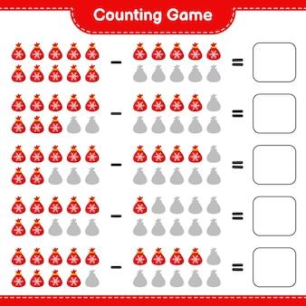 Contando juego, cuenta el número de santa claus bag y escribe el resultado. juego educativo para niños