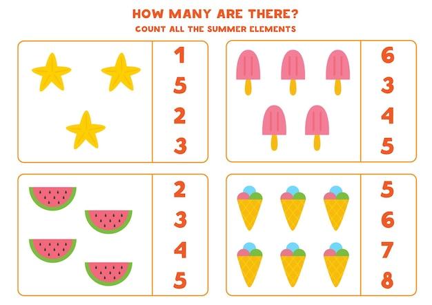 Contando juego con elementos de verano de dibujos animados. hoja de trabajo de matemáticas.