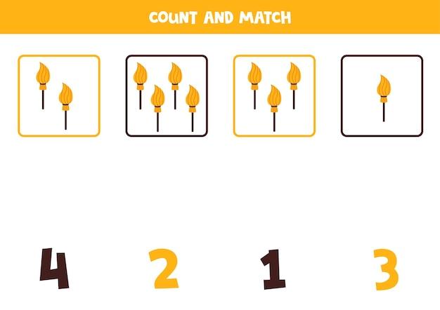Contando juego con escobas santificadas. hoja de trabajo de matemáticas.