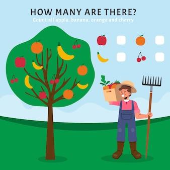 Contando juego con frutas en un árbol.