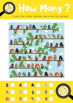 Contando el juego de monos lindos