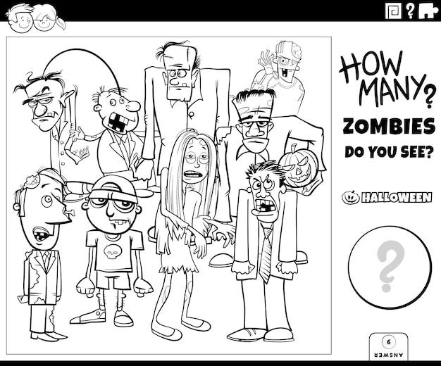 Contando juego con personajes de dibujos animados zombies página de libro para colorear