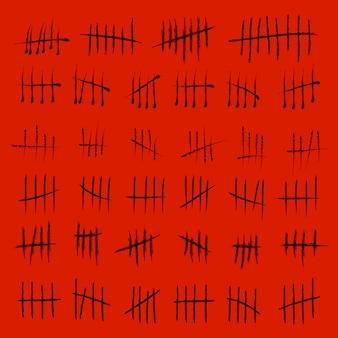 Contando las marcas de números de conteo en espera.