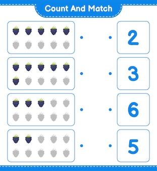 Contar y combinar, contar el número de moras y combinar con los números correctos. juego educativo para niños, hoja de trabajo imprimible.