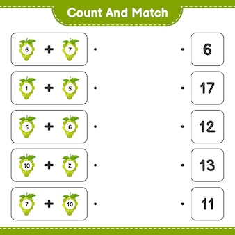 Contar y combinar, contar el número de uvas y combinar con los números correctos. juego educativo para niños, hoja de trabajo imprimible.
