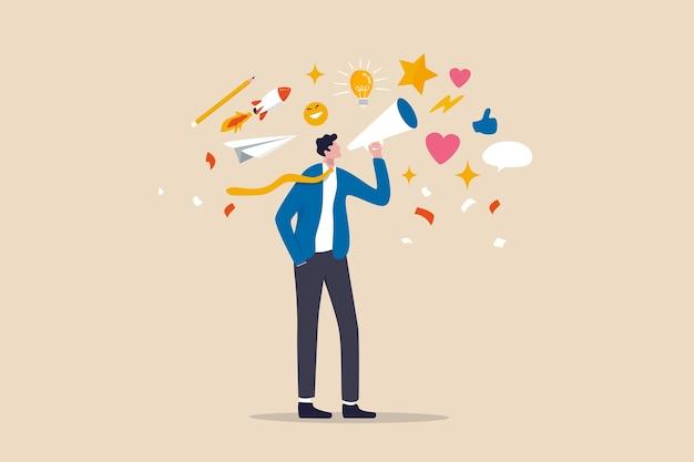 Contar historias, el arte de la comunicación o contar y compartir ideas, inspiración, promover campañas de marketing en concepto publicitario