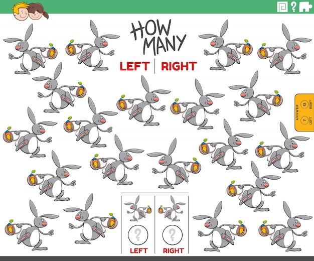 Contar imágenes izquierda y derecha de conejito de pascua de dibujos animados