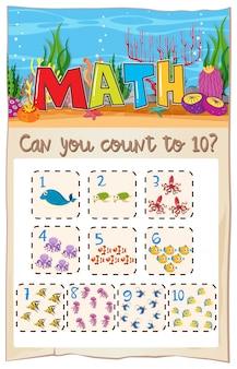 Contar el número de matemáticas a diez