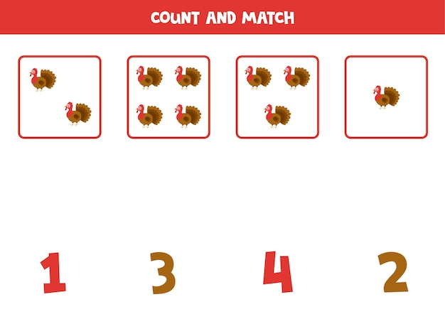 Contar todos los pavos y emparejarlos con los números correctos. juego de matemáticas para niños.