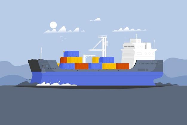 Contenedor de barco de carga en el océano