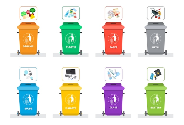 Contenedor de basura para clasificar residuos
