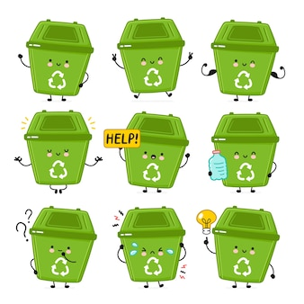Contenedor de basura feliz lindo set colección.