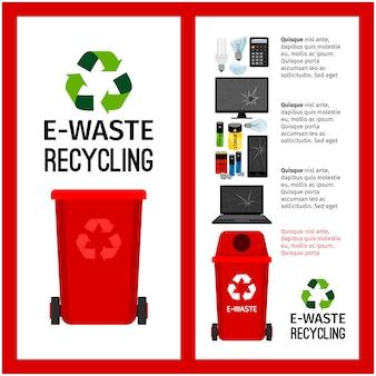 Contenedor de basura rojo info con e-waste