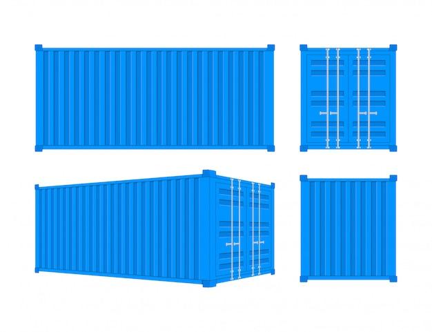 Contenedor de carga azul de envío veinte y cuarenta pies. para logística y transporte
