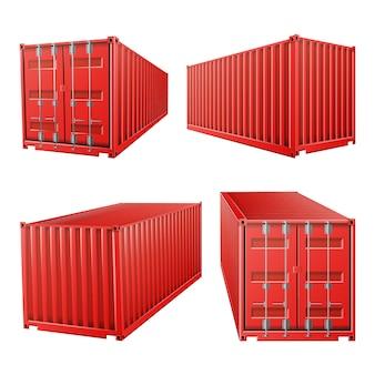 Contenedor de carga rojo 3d