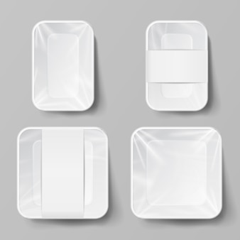 Contenedor de comida de plástico blanco en blanco