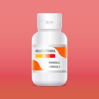 Contenedor de complejo vitamínico realista