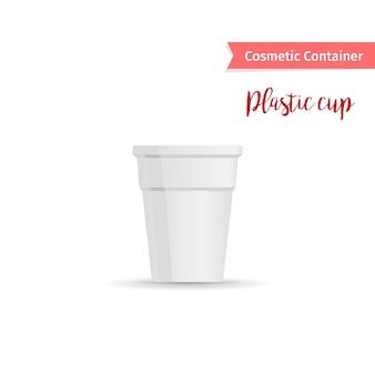 Contenedor cosmético de plástico blanco taza