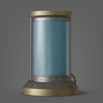 Contenedor futurista de cápsula criónica con tubo de vidrio y líquido criogénico para hibernación en nave espacial o laboratorio, cámara de tecnología científica, congelador de ciencia ficción