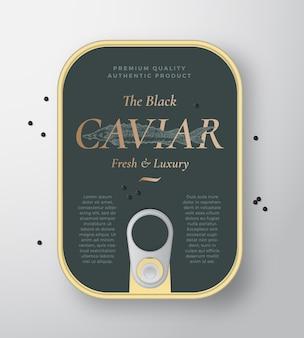 Contenedor de lata de vectores de mariscos de caviar negro con plantilla de cubierta de etiqueta
